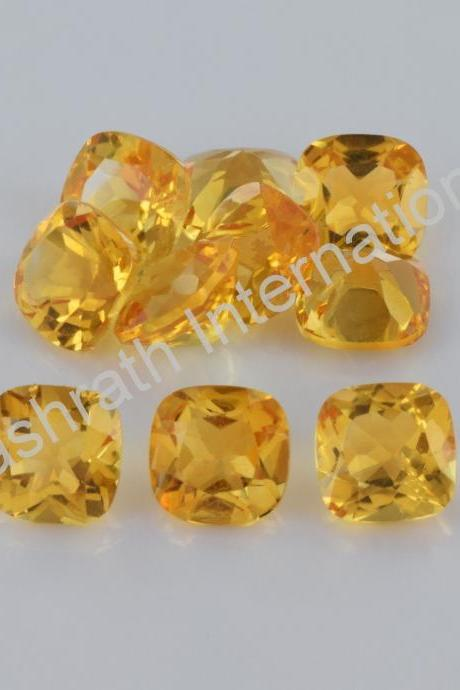 4mm Natural Citrine Faceted Cut Cushion 10 Pieces Lot Yellow Color (AA) Calibrated Size Top Quality Loose Gemstone