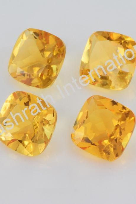 5mm Natural Citrine Faceted Cut Cushion 5 Pieces Lot Yellow Color (AA) Calibrated Size Top Quality Loose Gemstone
