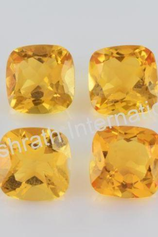 9mm Natural Citrine Faceted Cut Cushion 25 Pieces Lot Yellow Color (AA) Calibrated Size Top Quality Loose Gemstone
