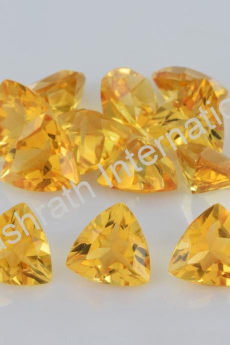 9mm Natural Citrine Faceted Cut Trillion 50 Pieces Lot Yellow Color (AA) Calibrated Size Top Quality Loose Gemstone