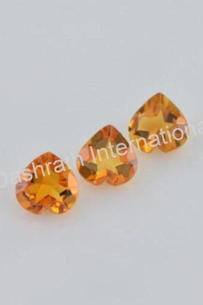 5mm Natural Citrine Faceted Cut Heart 2 Piece (1 Pair) Yellow Color (AA) Calibrated Size Top Quality Loose Gemstone
