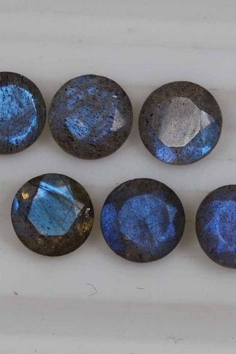 8mm Natural Labradorite Faceted Cut Round 25 Pieces Lot Gray Color Blue Power Calibrated Size Top Quality Loose Gemstone
