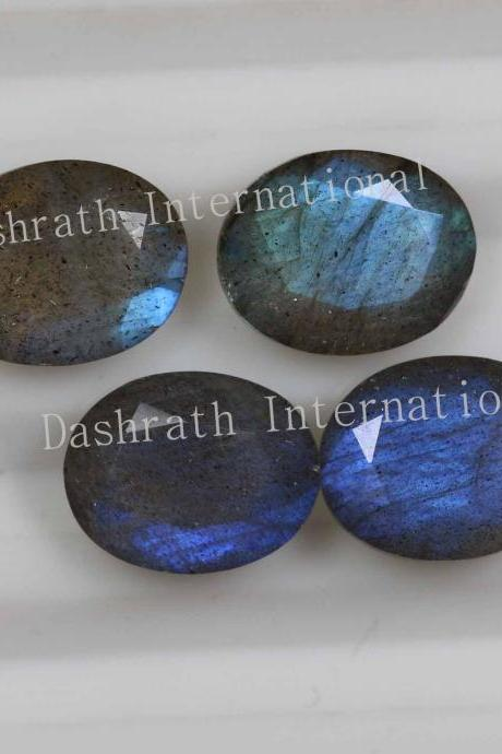 16x12mm Natural Labradorite Faceted Cut Oval 50 Pieces Lot Gray Color Blue Power Calibrated Size Top Quality Loose Gemstone