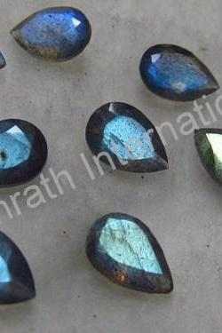 18x13mm Natural Labradorite Faceted Cut Pear 5 Pieces Lot Gray Color Blue Power Calibrated Size Top Quality Loose Gemstone