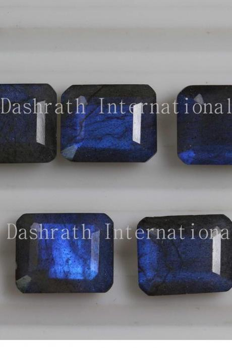 18x13mm Natural Labradorite Faceted Cut Octagon 5 Pieces Lot Gray Color Blue Power Calibrated Size Top Quality Loose Gemstone