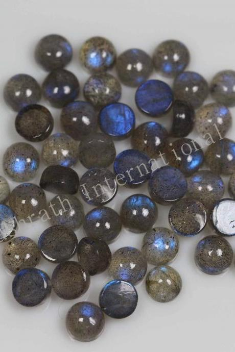 4mmNatural Labradorite Cabochon Round 50 Pieces Lot Gray Color Blue Power Calibrated Size Top Quality Loose Gemstone