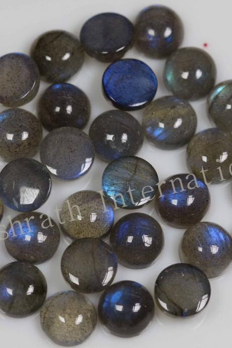 12mm Natural Labradorite Cabochon Round 50 Pieces Lot Gray Color Blue Power Calibrated Size Top Quality Loose Gemstone