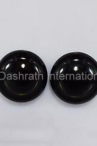 15mm Natural Black Onyx Cabochon Round 2 Piece (1 Pair ) Top Quality Black Color Loose Gemstone Wholesale Lot For Sale