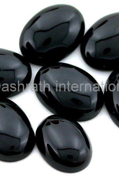 15x20mm Natural Black Onyx Cabochon Oval 100 Pieces Lot Top Quality Black Color Loose Gemstone Wholesale Lot For Sale