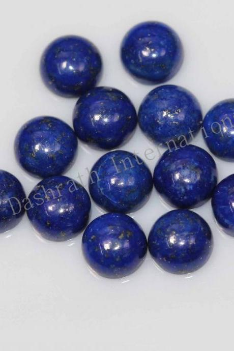 9mm Natural Lapis Lapuli Cabochon Round 5 Pieces Lot Blue Color Top Quality Loose Gemstone