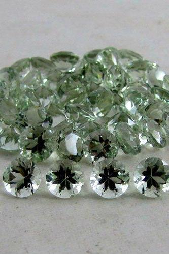 9mm Natural Green Amethyst Faceted Cut Round 75 Pieces Lot Green Color Top Quality Loose Gemstone