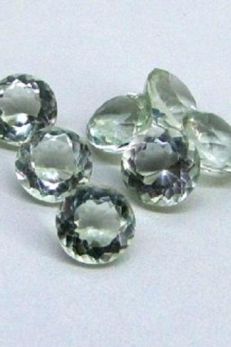 10mm Natural Green Amethyst Faceted Cut Round 2 Piece (1 Pair ) Green Color Top Quality Loose Gemstone