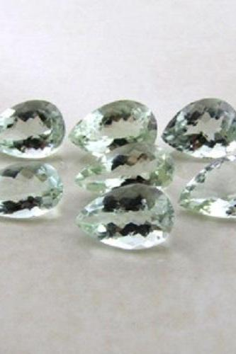 9x7mm Natural Green Amethyst Faceted Cut Pear 50 Pieces Lot Green Color Top Quality Loose Gemstone