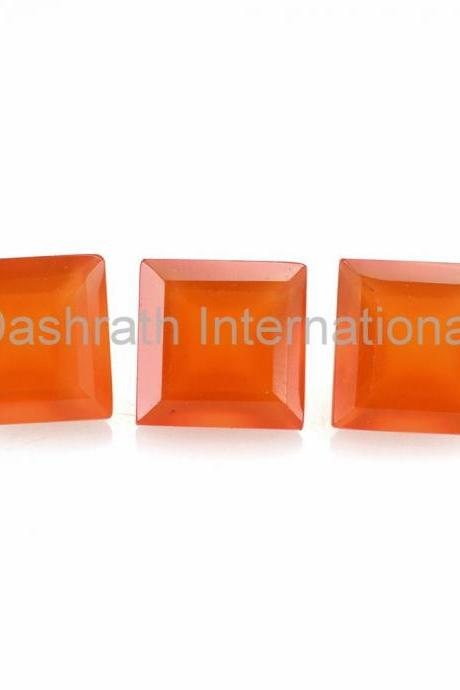 4mm Natural Carnelian Faceted Cut Square 2 Piece (1 Pair ) Calibrated Size Top Quality Orange Color Loose Gemstone