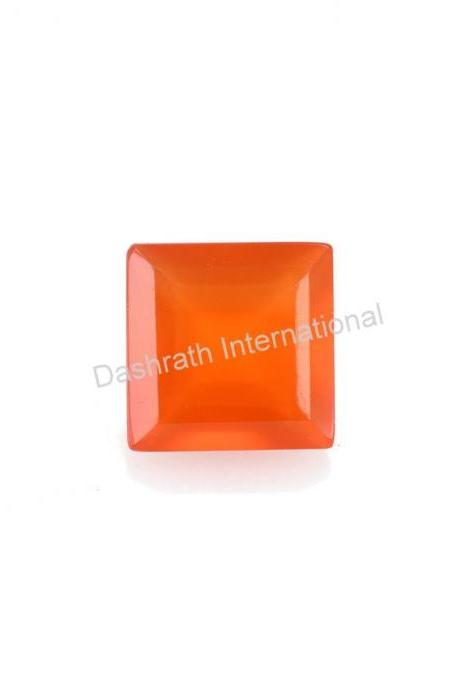10mm Natural Carnelian Faceted Cut Square 75 Pieces Lot Calibrated Size Top Quality Orange Color Loose Gemstone