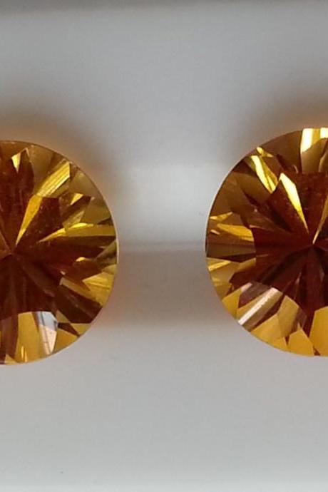 14mm Natural Citrine Concave Cut Round 10 Pieces Lot Calibrated Size Top Quality yellow Color Loose Gemstone