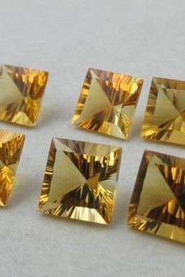 8mm Natural Citrine Concave Cut Square 2 Piece (1 Pair) Calibrated Size Top Quality yellow Color Loose Gemstone