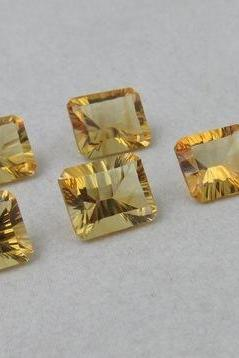 8x6mm Natural Citrine Concave Cut Octagon 5 Pieces Lot Calibrated Size Top Quality yellow Color Loose Gemstone