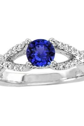 925 Silver Natural Tanzanite 5mm Round Faceted Cut With White Topaz Ring