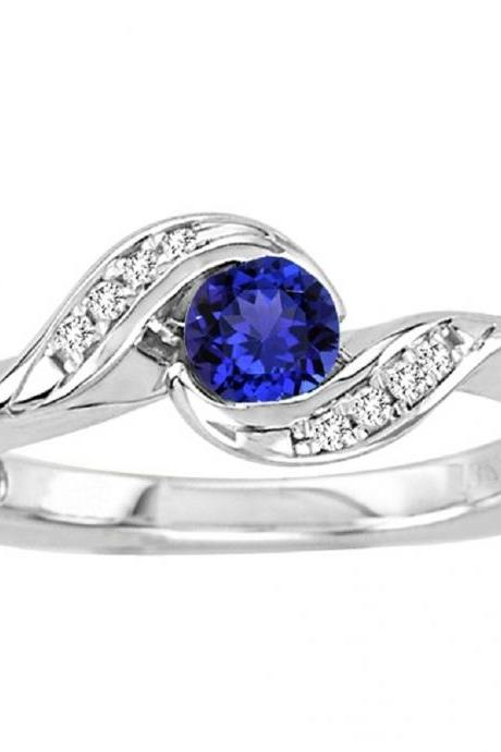 925 Silver Natural Tanzanite 4.5mm Round Cut With White Topaz Gemstone Ring