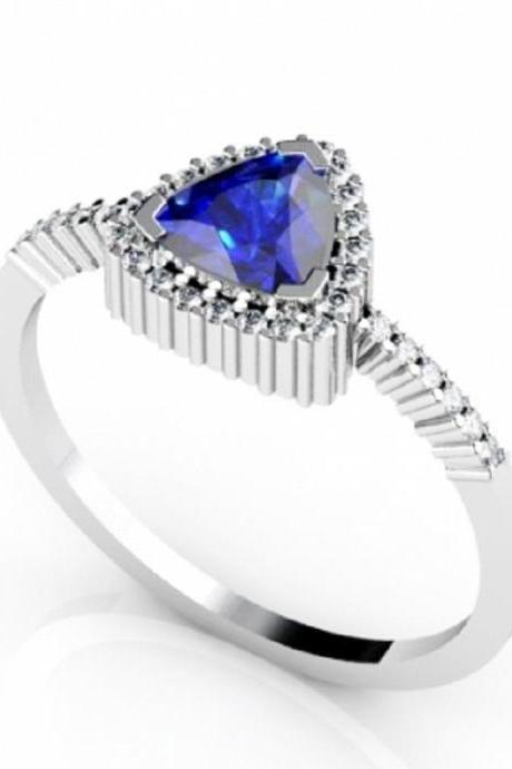 Sterling Silver Ring With Natural Tanzanite 6mm Trillion Cut And White Topaz Gemstone Ring