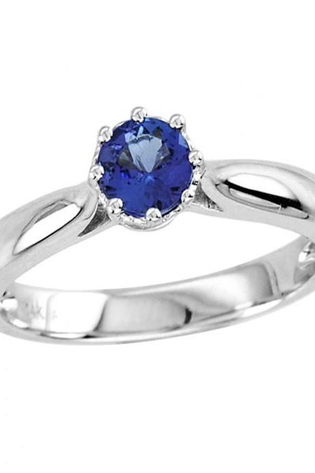 Sterling Silver Ring With Genuine Natural Tanzanite 5mm Round Cut Gemstone Ring