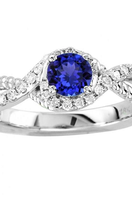 Sterling Silver Ring With Genuine Natural Tanzanite 5mm Round Cut And White Topaz Gemstone Ring