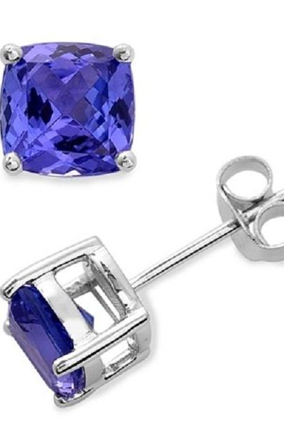925 Sterling Silver Stud Earring Natural Tanzanite Cushion 6mm Blue Color Gemstone Stud Earring
