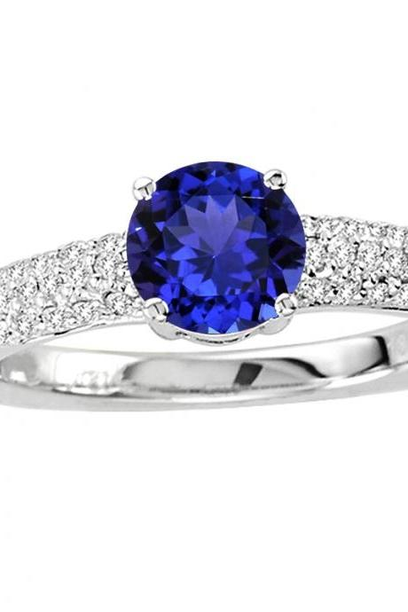 925 Sterling Silver Ring With Genuine Natural Tanzanite 6mm Round Cut And White Topaz Gemstone Ring