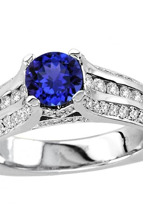 Silver Ring With Genuine Natural Tanzanite 6.5mm Round Cut And White Topaz Gemstone Ring