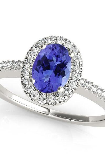 Silver Ring With Genuine Natural Tanzanite 5x7mm Oval Cut And White Topaz Gemstone Ring