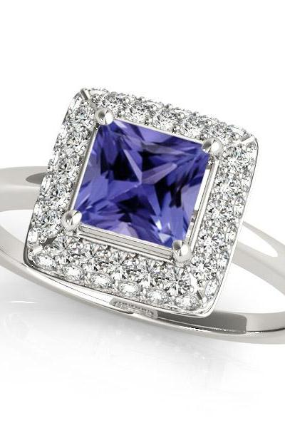 Silver Ring With Genuine Natural Tanzanite 6mm Princess Cut And White Topaz Gemstone Ring