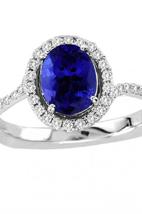Silver Ring With Genuine Natural Tanzanite 6x8mm Oval Cut And White Topaz Gemstone Ring