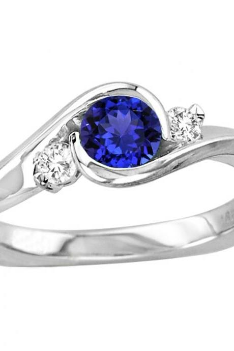 925 Silver Ring With Genuine Natural Tanzanite 5mm Round Cut And White Topaz Gemstone Ring