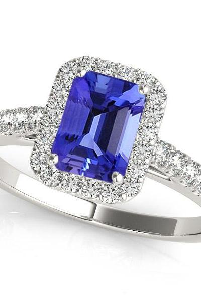 925 Sterling Silver Ring With Genuine Natural Tanzanite 5x7mm Octagon Cut And White Topaz Gemstone Ring