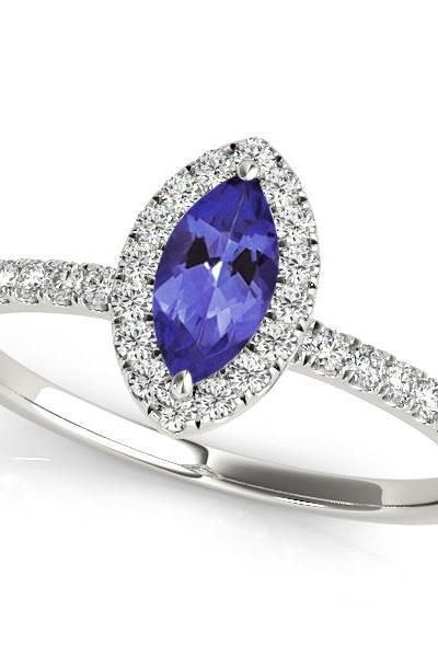 925 Sterling Silver Ring With Genuine Natural Tanzanite 3.5x7mm Marquise Cut And White Topaz Gemstone Ring