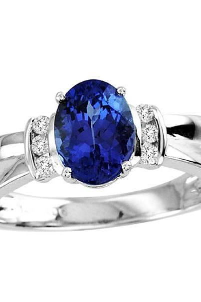925 Sterling Silver Ring With Genuine Natural Tanzanite 8x6mm Oval Cut And White Topaz Gemstone Ring