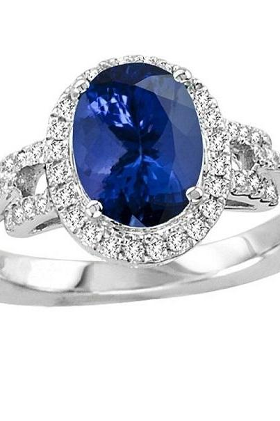 925 Sterling Silver Ring With Genuine Natural Tanzanite 9x7mm Oval Cut And White Topaz Gemstone Ring