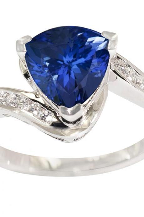 Sterling Silver Ring With Genuine Natural Tanzanite 8mm Trillion Cut And White Topaz Gemstone Ring