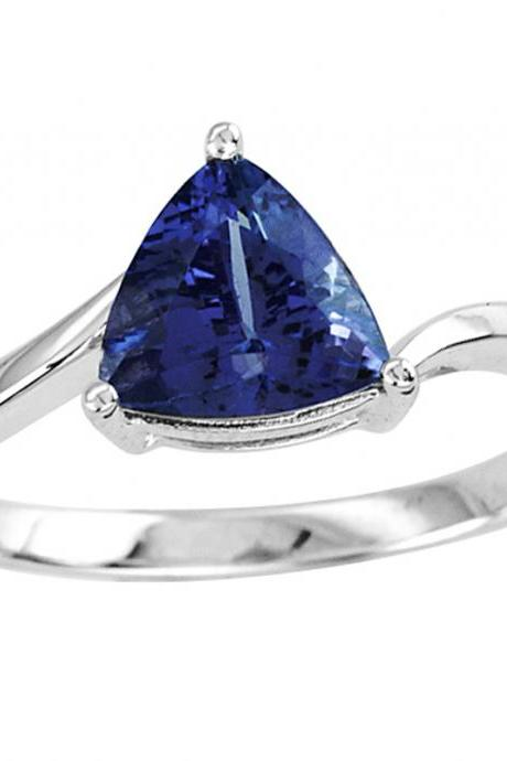 925 Sterling Silver Ring With Genuine Natural Tanzanite 7.5mm Trillion Cut Gemstone Ring
