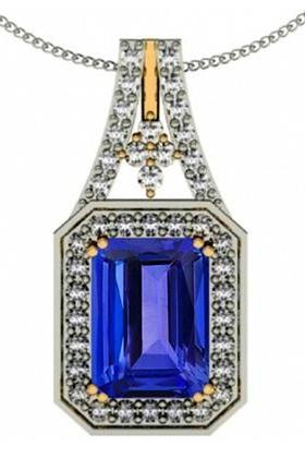 925 Silver With Yellow Rhodium Pendant With Genuine Natural Tanzanite 8x6mm Octagon Cut And White Topaz Gemstone Pendant
