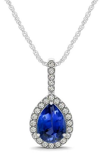 Silver Pendant With Genuine Natural Tanzanite 7x5mm Pear Cut And White Topaz Gemstone Pendant