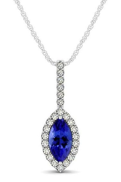 Silver Pendant With Genuine Natural Tanzanite 4x8mm Marquise Cut And White Topaz Gemstone Pendan