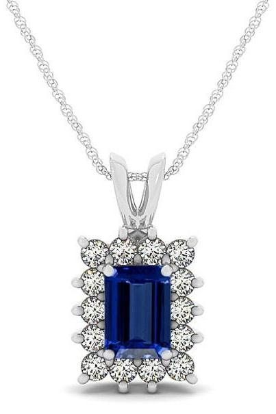 925 Silver Pendant With Genuine Natural Tanzanite 3x5mm Octagon Cut And White Topaz Gemstone Pendan