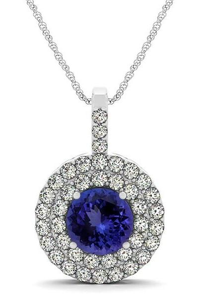 925 Sterling Silver Pendant With Genuine Natural Tanzanite 6mm Round Cut And White Topaz Gemstone Pendan