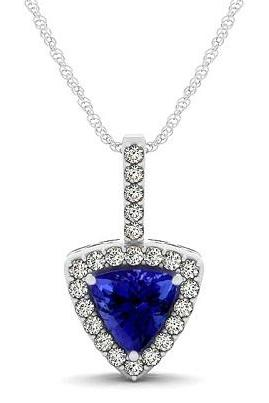Silver Pendant With Genuine Natural Tanzanite 6mm Trillion Cut And White Topaz Gemstone Pendan