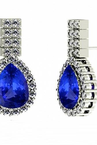 925 Sterling Silver Earring Genuine Natural Tanzanite 8x6mm Pear Cut with White Topaz Round Gemstone – Tanznaite Eariiing