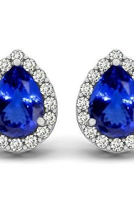 Sterling Silver Earring Genuine Natural Tanzanite 7x5mm Pear Cut with White Topaz Round Gemstone – Tanznaite Eariiing