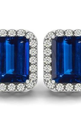 925 Silver Earring Genuine Natural Tanzanite 7x5mm Octagon Cut with White Topaz Round Gemstone – Tanznaite Eariiing