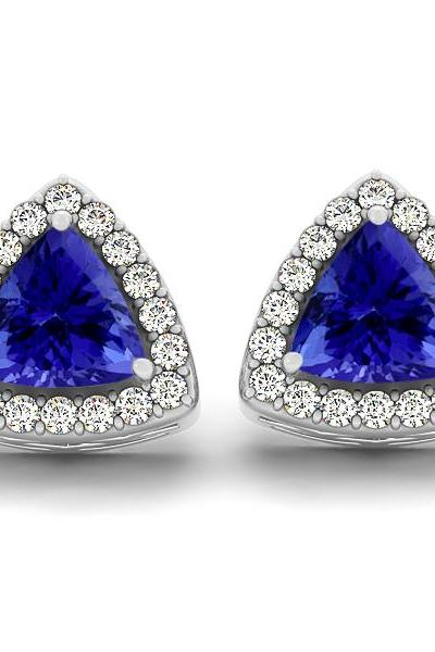 Sterling Silver Earring Genuine Natural Tanzanite 6mm Trillion Cut with White Topaz Round Gemstone – Tanznaite Eariiing